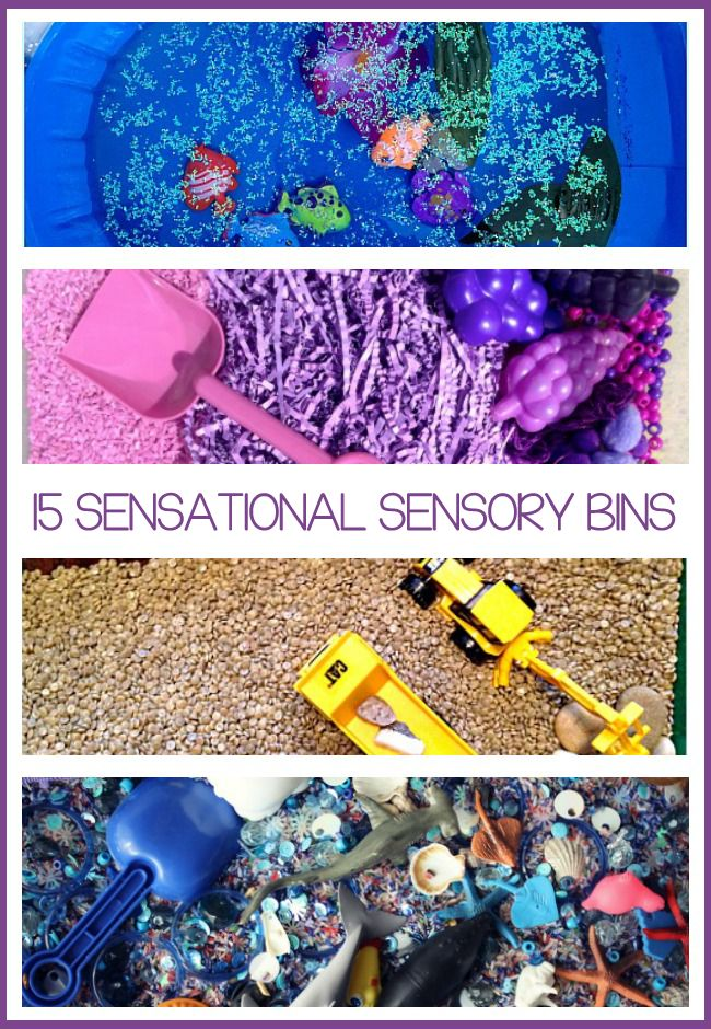 Lots of fun with sensory bins - here are 15 different ones to make!