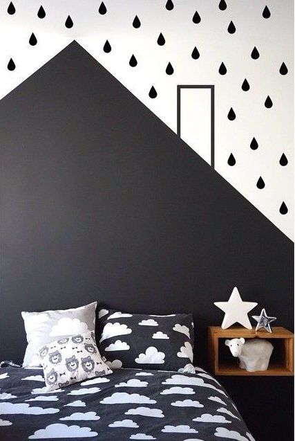 graphic black and white kids room