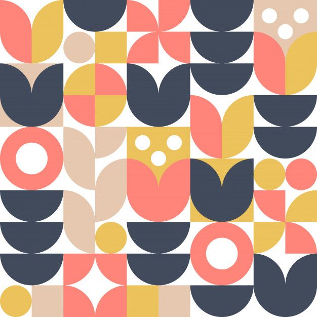 Abstract Scandinavian Flower Background Or Seamless Pattern Modern Geometric Design In Retro Nordic Style Geometric Art Graphic Design Pattern Seamless Patterns