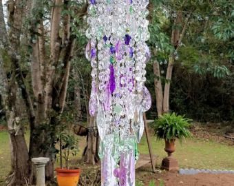 Antique Crystal Wind Chime, Lilac and Light Green Crystal Wind Chime, Purple and Green Crystal Wind Chime, Garden Decoration, Home Decor