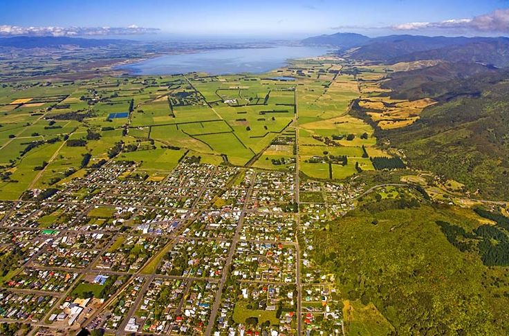 Featherston, with, Lake Wairarapa, beyond,  see more at New Zealand Journeys app for iPad www.gopix.co.nz