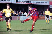 Tony Rogers scores a late goal to win the game for Dagenham - Dagenham & Redbridge vs Ashton United - FA Challenge Trophy Quarter-Final at Victoria Road - 22/30/97 - MANDATORY CREDIT: Gavin Ellis/TGSPHOTO - Self billing applies where appropriate - 0845 094 6026 - contact@tgsphoto.co.uk - NO UNPAID USE..