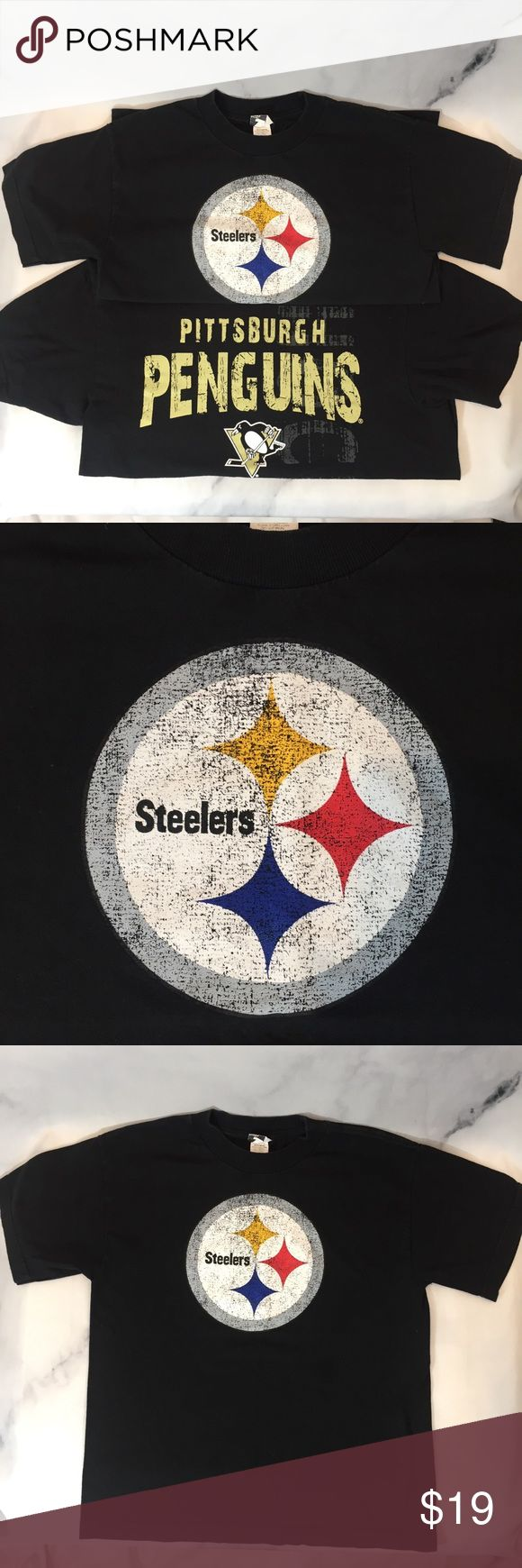 👦🏼PITTSBURGH PENGUINS STEELERS T SHIRTS BOYS M 👦🏼PITTSBURGH PENGUINS STEELERS T SHIRTS BOYS MEDIUM 👦🏼. Both gently used in great condition!  Size BOYS MEDIUM 10/12.  Cotton.  All my items are kept in a clean house that's free of smoke and pets. NCMCOLLECTIONS 🏈🏒 Shirts & Tops Tees - Short Sleeve
