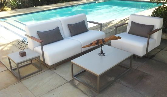"""""""THe Kush"""" Lounge Suite. Powder Coated Aluminum, Kiaat Wooden Arm Cladding. Outdoor Patio Furniture. Removable Cushions. Outdoor Covers Available. Customizable Frame, Fabric and Polycane Colors."""