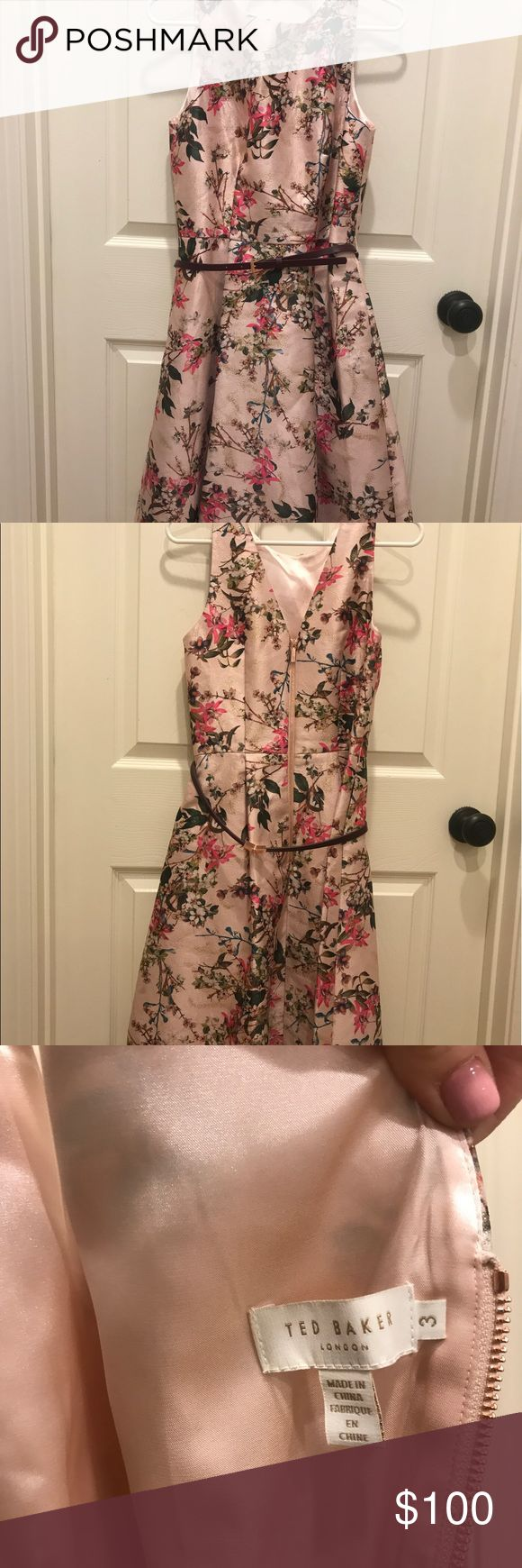 Ted Baker floral print midi dress UK size 3 Authentic Ted Baker floral print a-line midi dress. Very beautiful springlike print with gold shimmer in fabric. Comes with coordinating belt. Fits like an 8/10. Worn once to a wedding. Ted Baker London Dresses Midi
