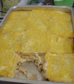 Torta de frango com pão de fôrma