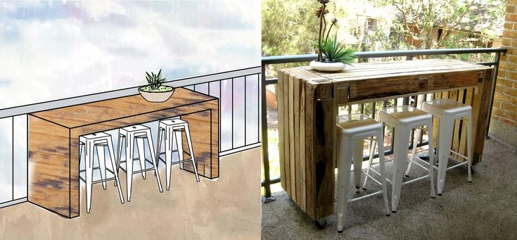 Bar ideas out of pallets custom balcony table made of - Table haute en palette ...