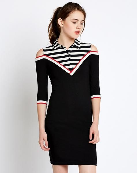 Shop now the latest #Black Cold Shoulder Long Sleeve Bodycon Dress read more at  ladyindia.com  http://bit.ly/2xpHeIi
