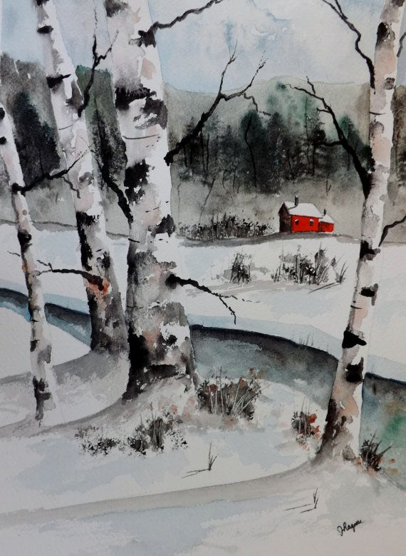 Original Watercolor Painting Maine Landscape by pinetreeart, $59.00