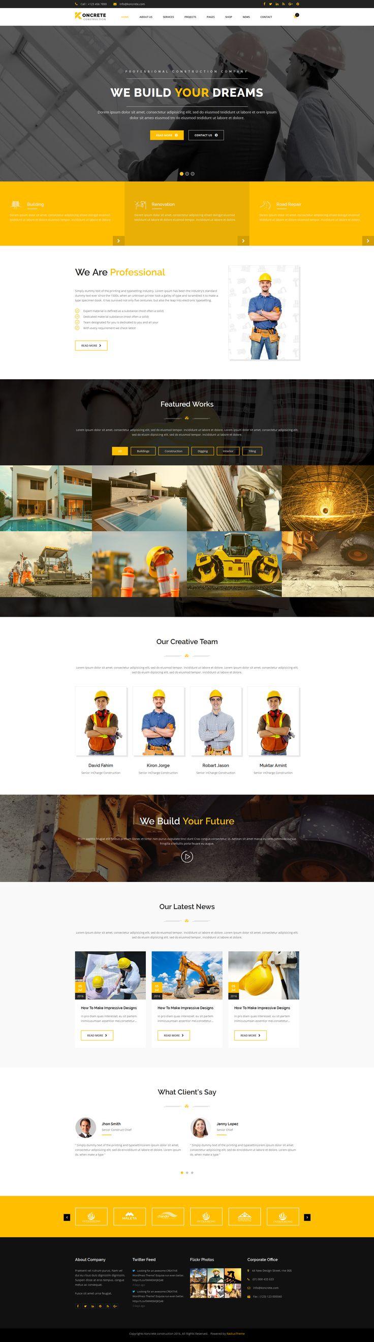 wedding invitation template themeforest%0A Koncrete  Construction  u     Building HTML  Template