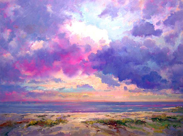 "Robert Andriulli, Shell Beach Morning Cloudburst, 2009  Oil on canvas, 24x32"",  $2300 Steven Scott Gallery"