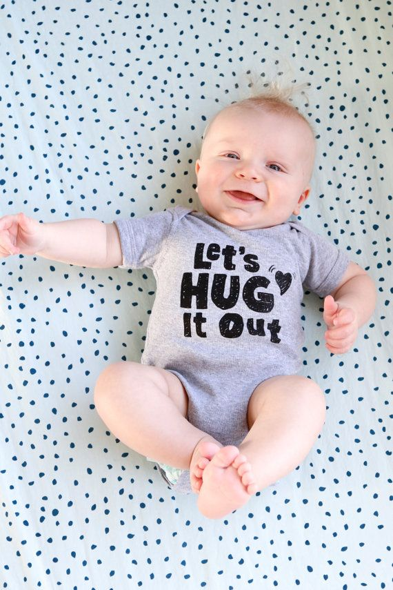 Valentines Day Outfitt <3<3<3 // Baby Hug It Out Onesie by twiddleANDtweet on Etsy