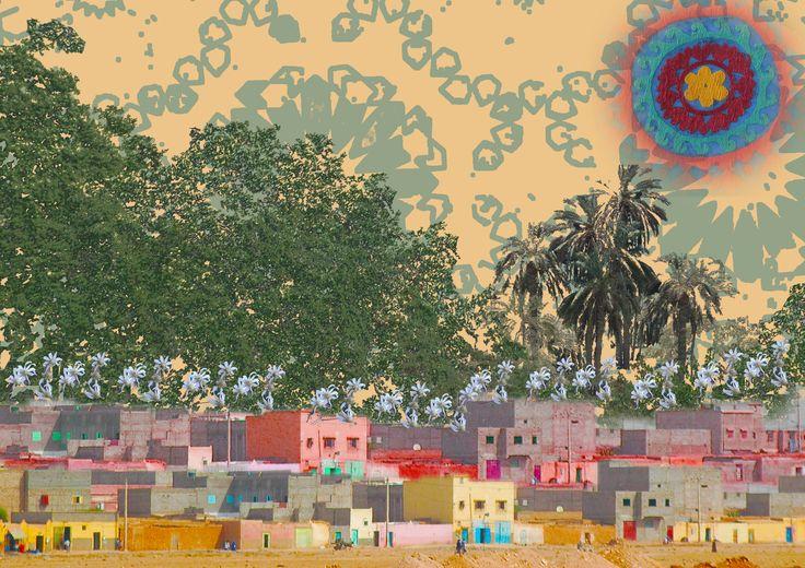Desert Village. Photoshop composition by Yasmine Dabbous, Kinship Stories' designer.