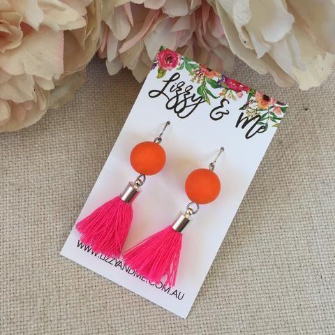 """""""Tullulah"""" - Tassel Earrings - Hot Pink & Orange"""