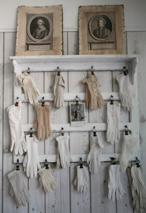 Such a cute idea for displaying gloves.