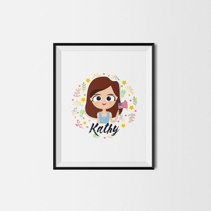 Customizable Printable Poster with Name and country flag personalized. Cute Printable custom girl child. Kawaii Poster Flowers Etsy Home decor/ Deco