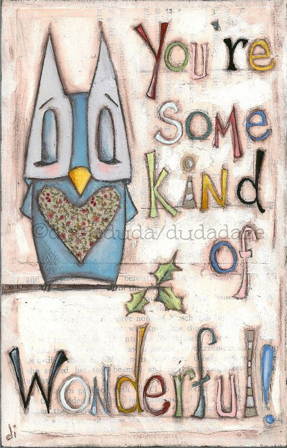 Whimsical artwork - Original Folk Art Owl Painting on wood Wonderful by DUDADAZE ©dianeduda/dudadaze