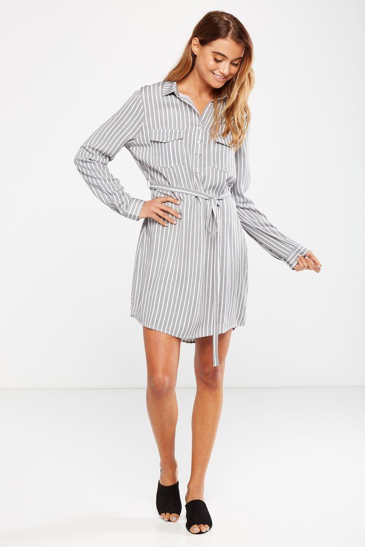Cotton On Women Woven Tammy Long Sleeve Shirt Dress in Harriet Stripe