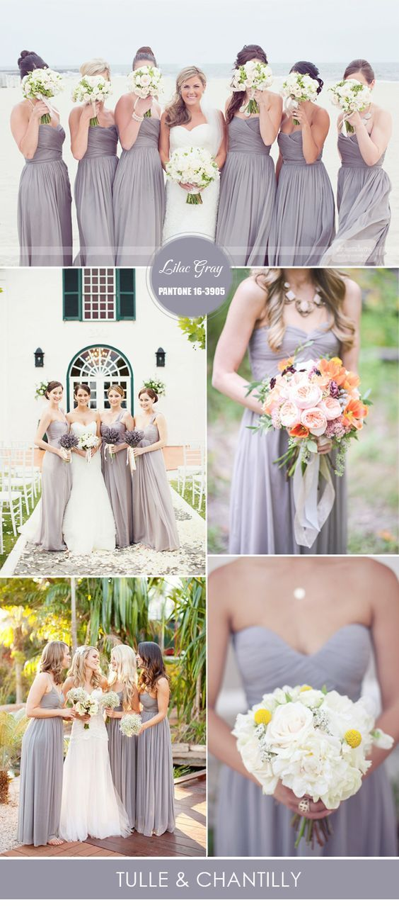 lilac gray wedding colors ideas 2016 and spring bridesmaid dresses ideas 2016: