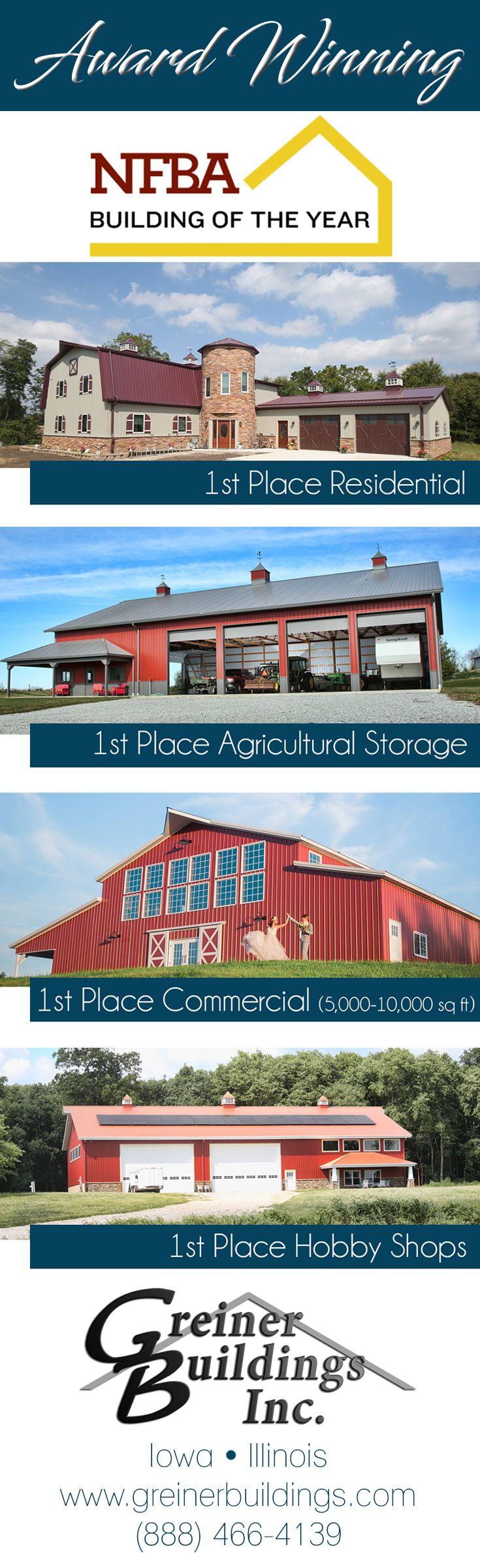 NFBA Award Winning Post Frame Buildings from Greiner Buildings, Inc. Residential, Agricultural, Commercial, Hobby Shop.