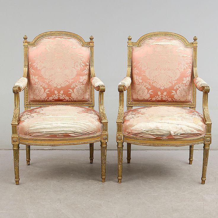 KARMSTOLAR, 1 par, Louis Seize-stil, 1900-talets början.