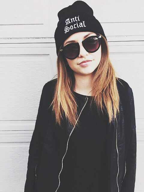 All black outfit Beanie for girls beanie with words how to wear a beanie beanie fashion black beanie cool alternative hipster
