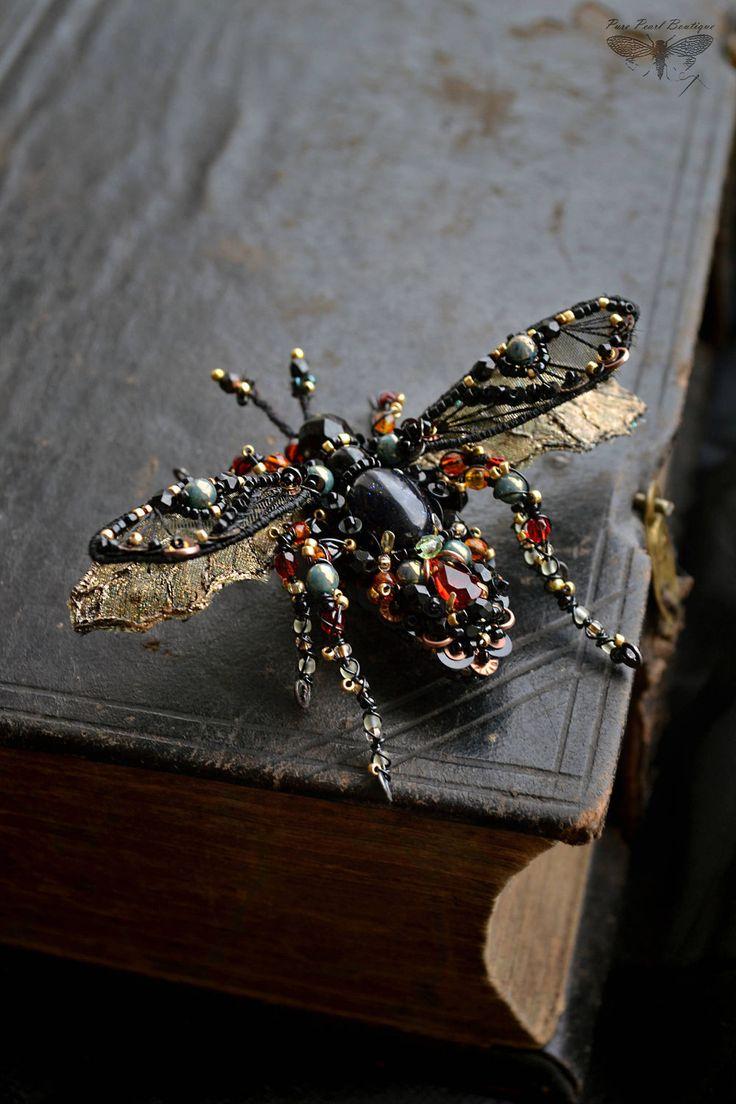Купить Брошь Жук в ручной вышивке - черный, жук брошь, вышивка ручная, насекомые