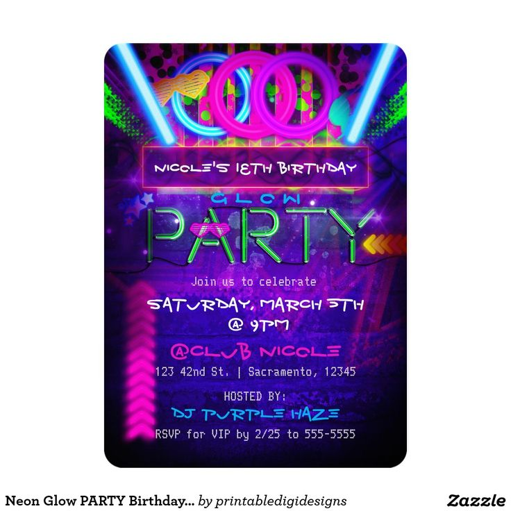 26 best Neon Glow in the dark Birthday Party Invitations images on ...