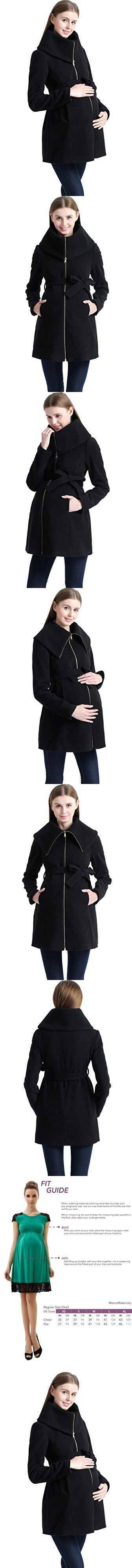 Momo Maternity Women's Wool Blend Fold Collar Zip Up Coat- Black L