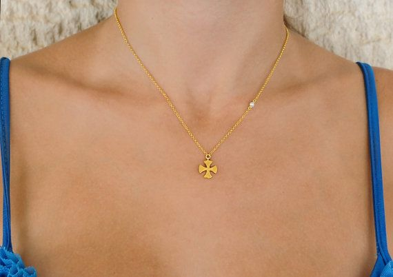 Silver Cross Gold cross Cross necklace 925 sterling by Wavejewels