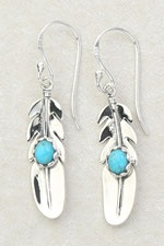Feather with Stone Earring