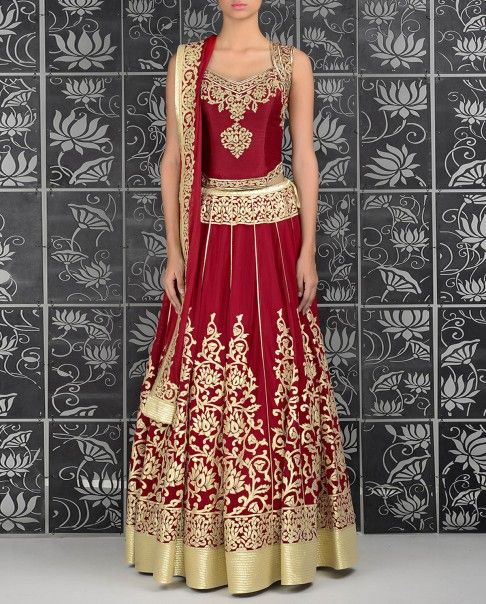 This outfit is stunning! Crimson Red Lengha with Corset Blouse - Rohit Bal - Designers