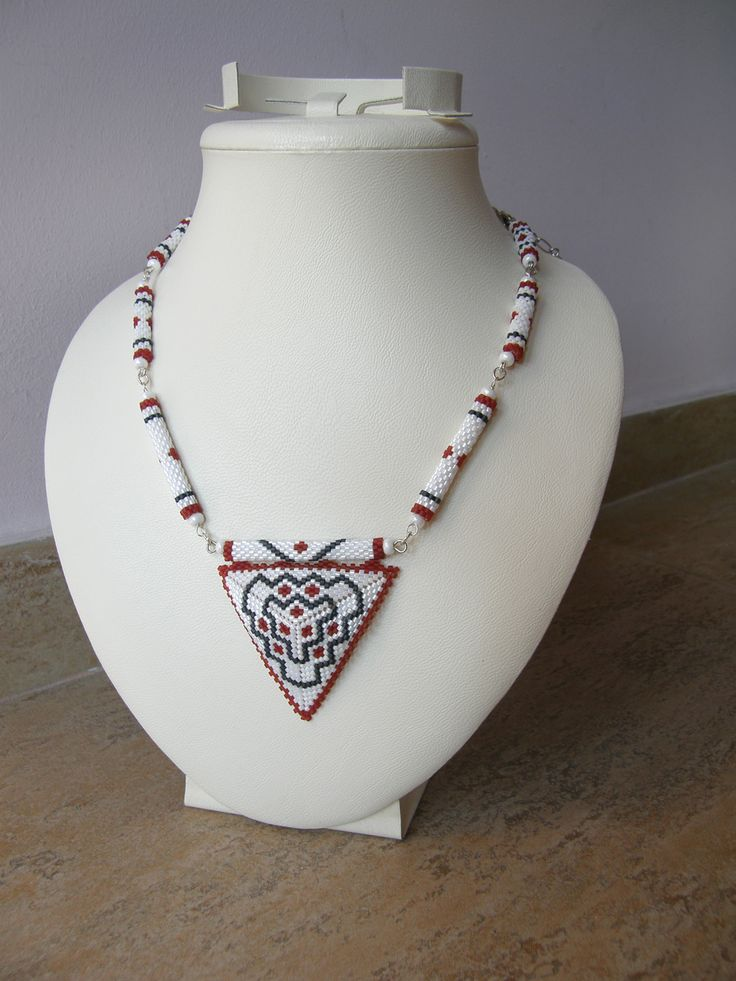 Кулон-треугольник этнический  - украшения из бисера - beaded jewelry