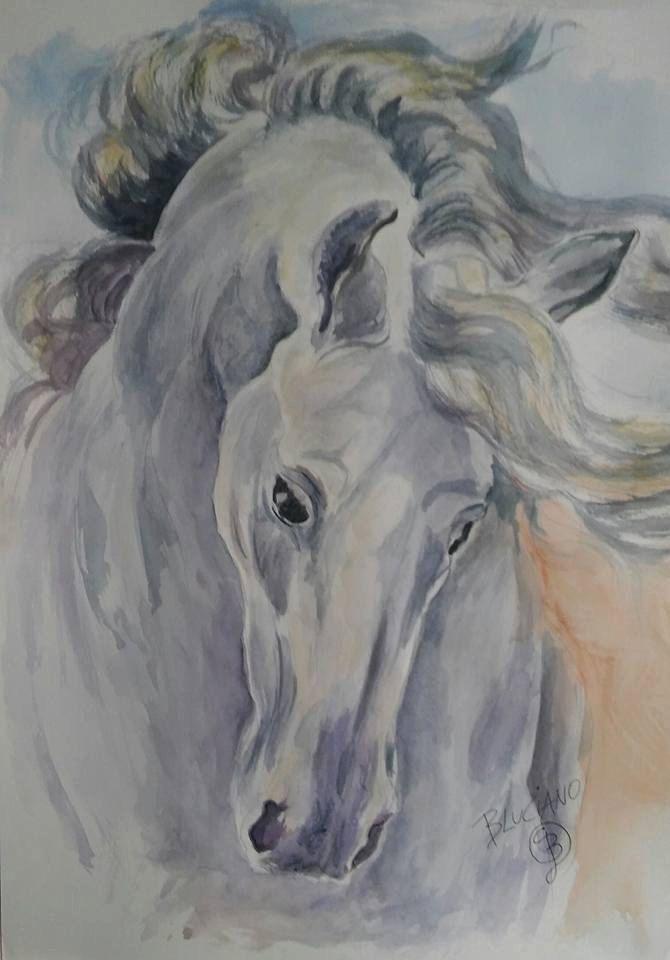 watercolor Horse di blucianoarte su Etsy