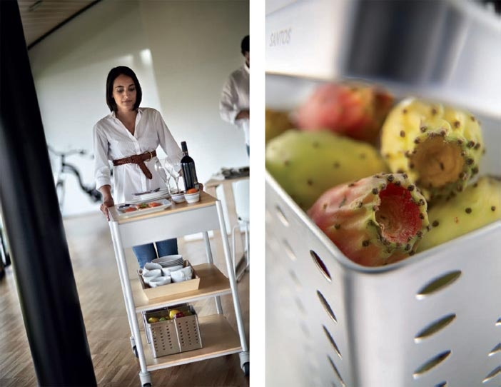 SANTOS kitchen | In Santos we have accessories that have been designed in-house, and that have been specially designed to help you.    Multi-function trolley made in aluminium and birch wood, equipped with wheels, with incorporated brakes. It can be moved easily and swiftly on any surface.     The stainless steel basket is designed for storing vegetables, fruit, potatoes and, in general, any food that needs good ventilation for its optimal conservation