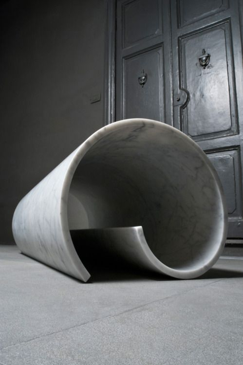 "thufri: Ron Gilad - Girella bench, made of marble but ""evokes butter that has just been cut with a knife.""  From the Soft Marble Collection for Tuscan marble and stone company Salvatori."
