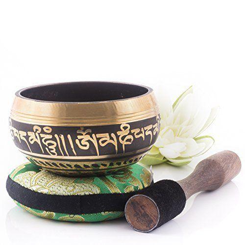 New Tibetan Singing Bowl Set Mallet Silk Cushion Yoga Chakra Massage Mindfulness #SingingBowl