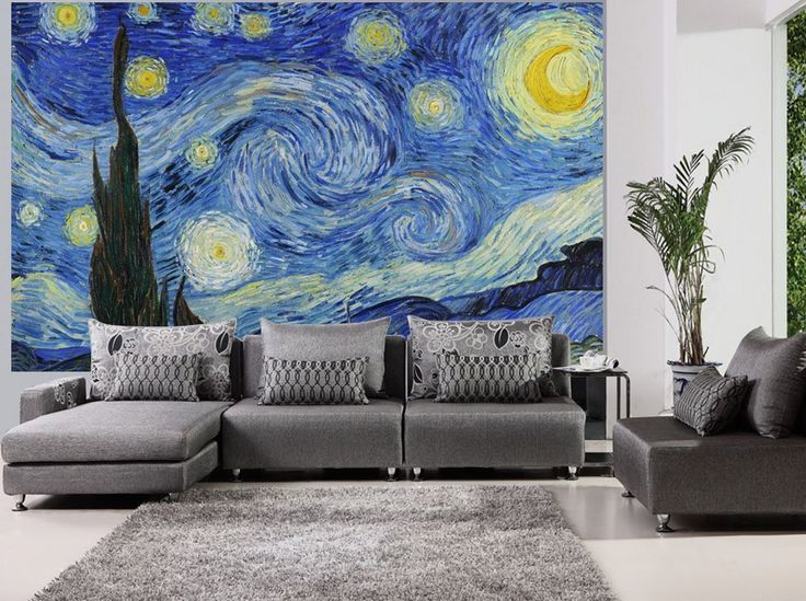 Wall26   Large Wall Mural   Famous Oil Painting Reproduction Of Starry  Night By Vincent Van Part 81