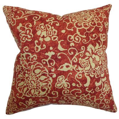 """The Pillow Collection Jaffna Floral Throw Pillow Color: Russett, Size: 22"""" H x 22"""" W"""