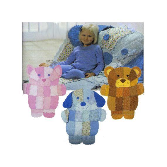 Kitty puppy bear rag quilt pattern children kids for Simplicity craft pattern 4993