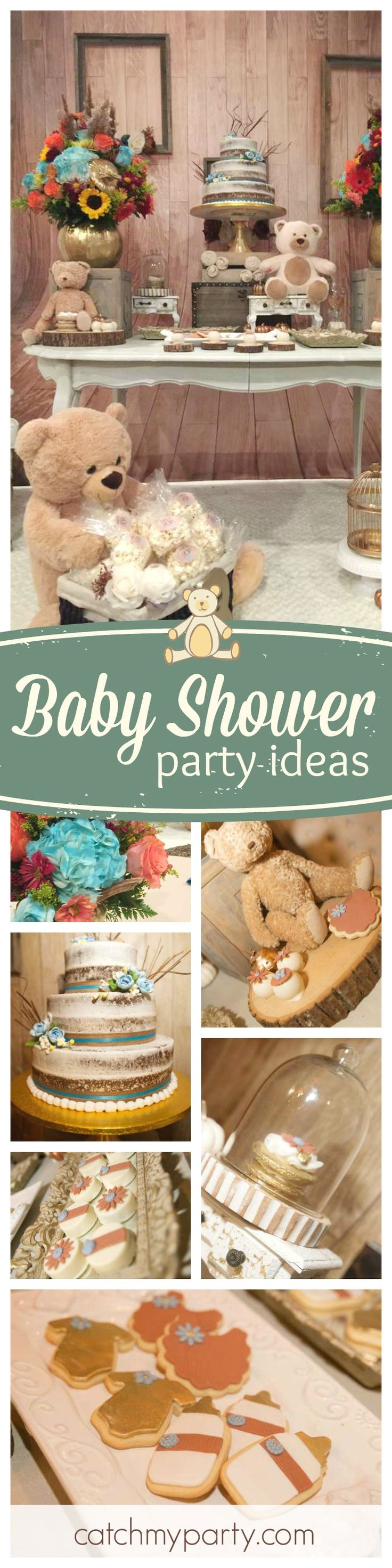 Don't miss this adorable vintage Teddy bear Baby Shower. The cake is fabulous!! See more party ideas and share yours at CatchMyParty.com