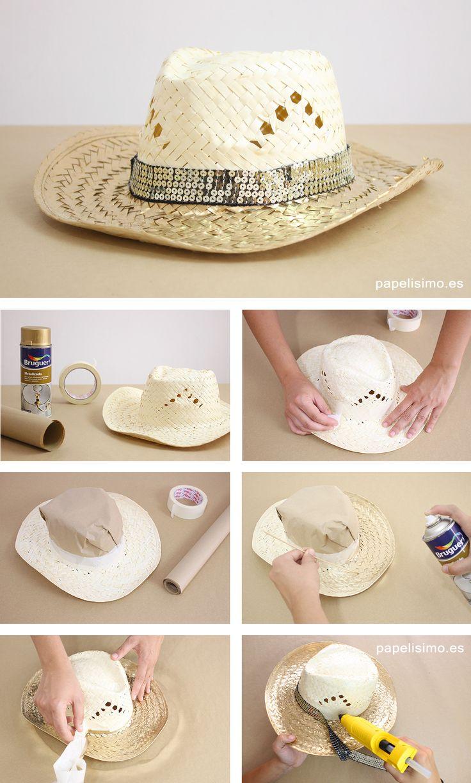 Sombrero-de-mimbre-para-playa-dorado-diy-gold