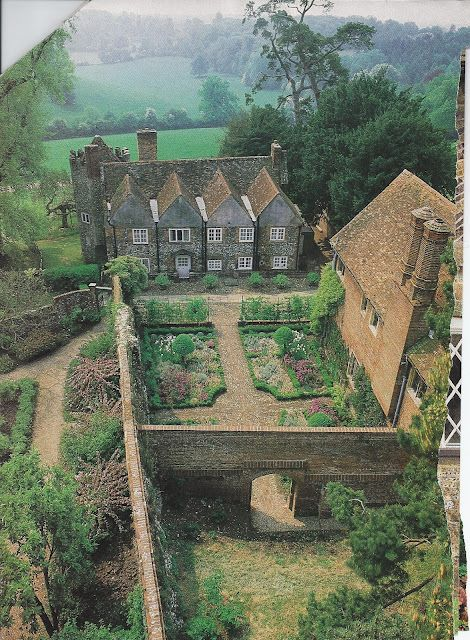 Devon's home would have been similar to this. - Victoria magazine often took us to England.  Here we get a bird's eye view of a spectacular manor house walled garden.