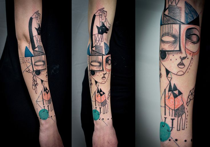 Surreal Portraiture and Cubism Combine in Beautiful New Illustrated Tattoos by Artist Duo 'Expanded Eye' http://www.thisiscolossal.com/2015/01/new-tattoos-expanded-eye/