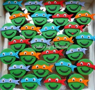 Ninja Turtle Cupcakes, Teenage Mutant Ninja Turtles, Ninja Turtle Cupcake Toppers, Teenage Mutant Ninja Turtles Cupcakes
