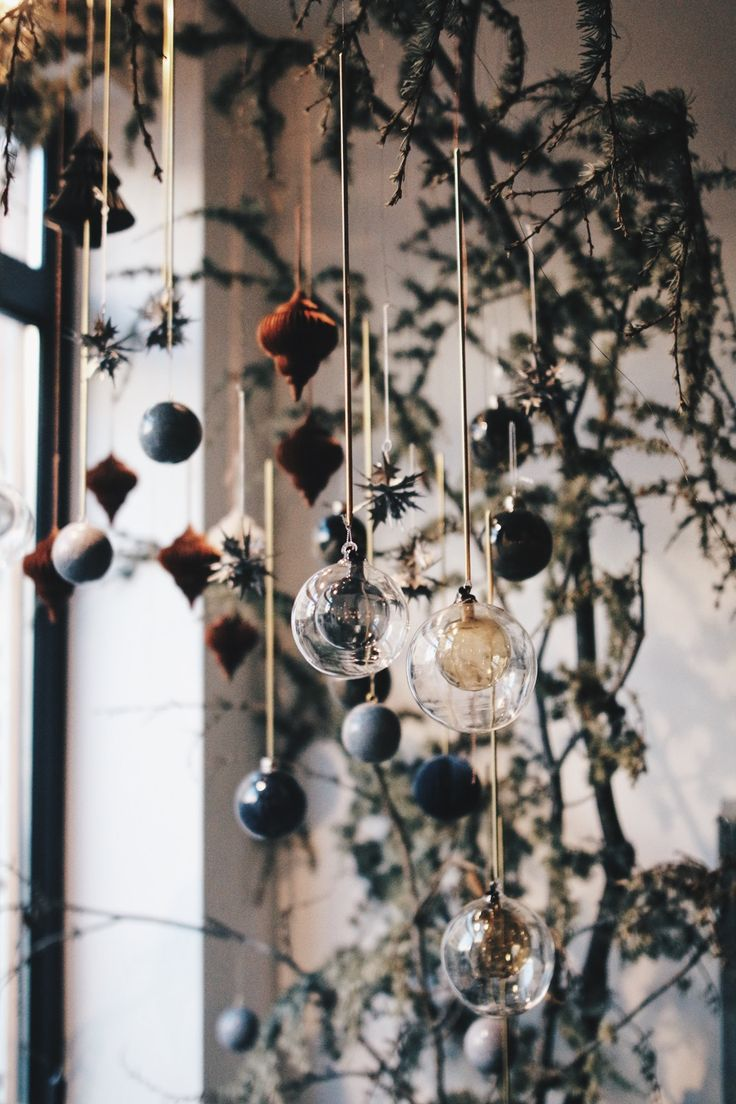 Beautiful branch with christmas balls | Laburnum floral design