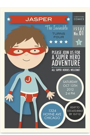 Super Hero Adventure Kids Birthday Invitation