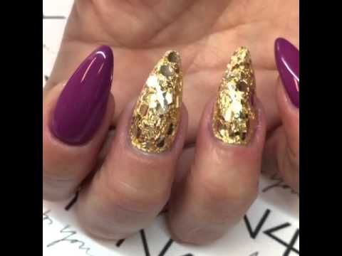 Glimmer gele negle, ny lækker glimmer lagt på guld foile.