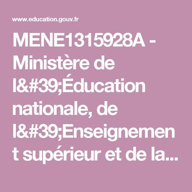 MENE1315928A - Ministère de l'Éducation nationale, de l'Enseignement supérieur et de la Recherche