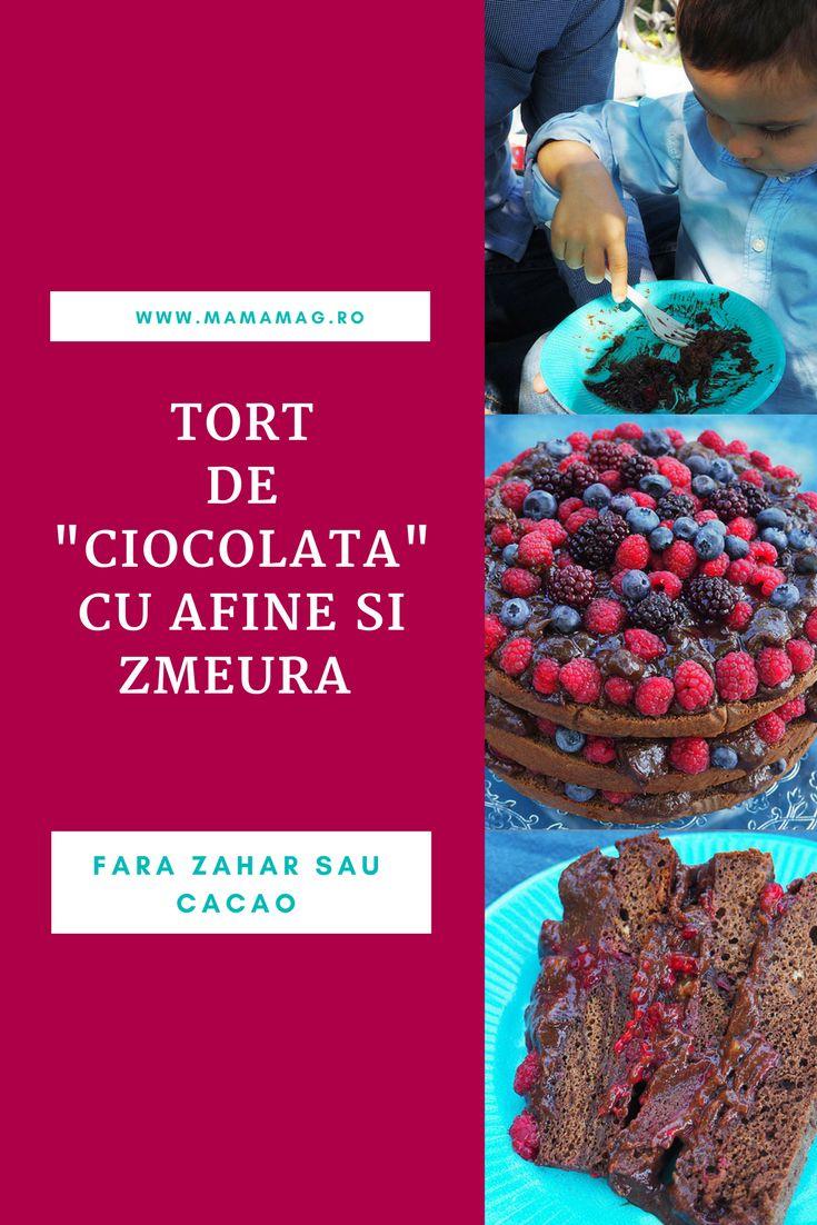 """Desi am preparat acest tort  de """"ciocolata"""" cu zmeura si afine pentru aniversarea celor 3 ani a puiul nostru, acesta  se potriveste de minune si pentru aniversarile de 1 sau 2 ani, fiindca nu contine zahar, indulcitori sau cacao."""